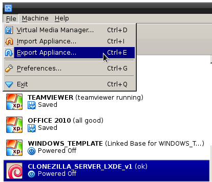virtualbox export appliance