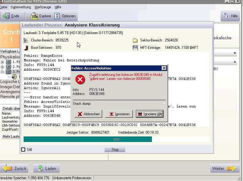 getdataback ntfs fails