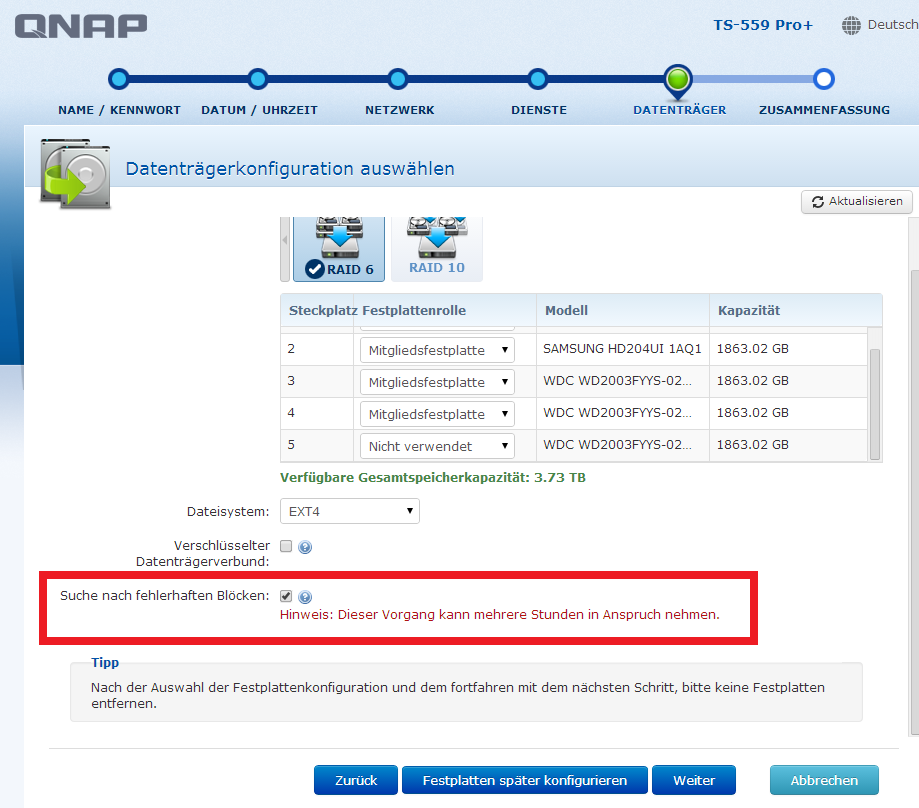 qnap now searching for defect harddisk blocks during setup assistent ...