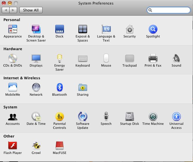 OSX 10.6.8 - system settings universal access