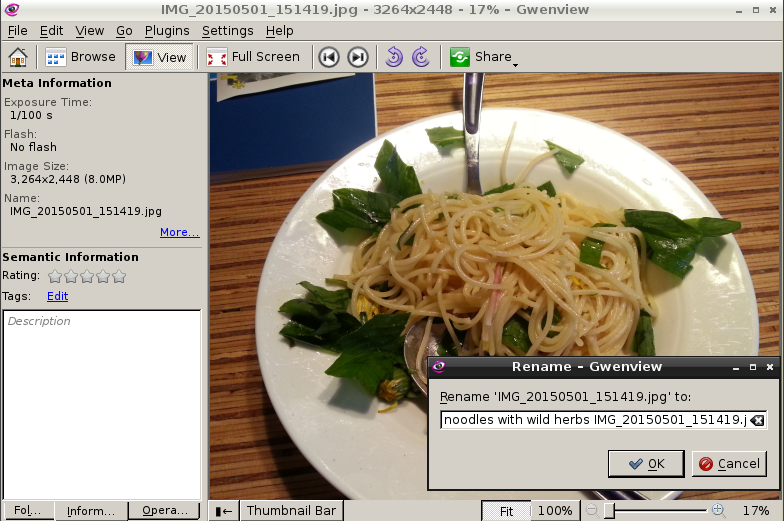 gwenview - linux picture viewer with rename functionality