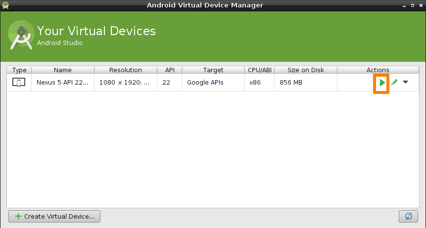 android studio virtual device emulation manager