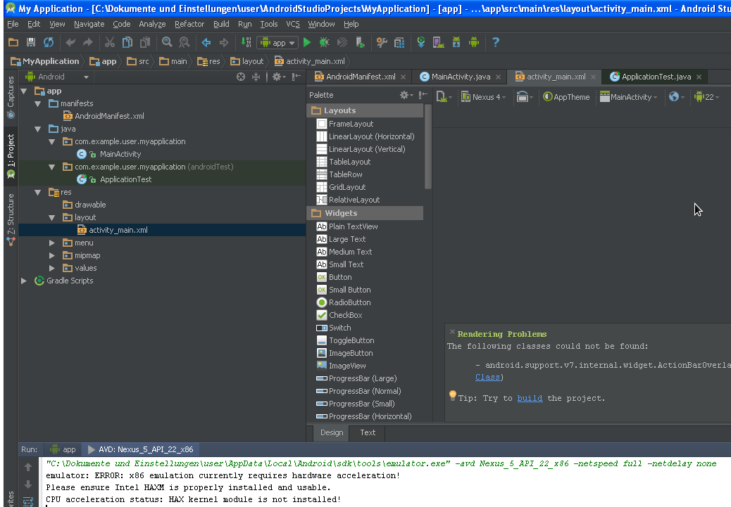 android studio windows xp device emulator fails hardware accleration