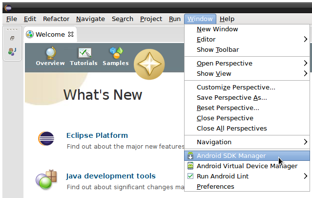eclipse android start sdk manager