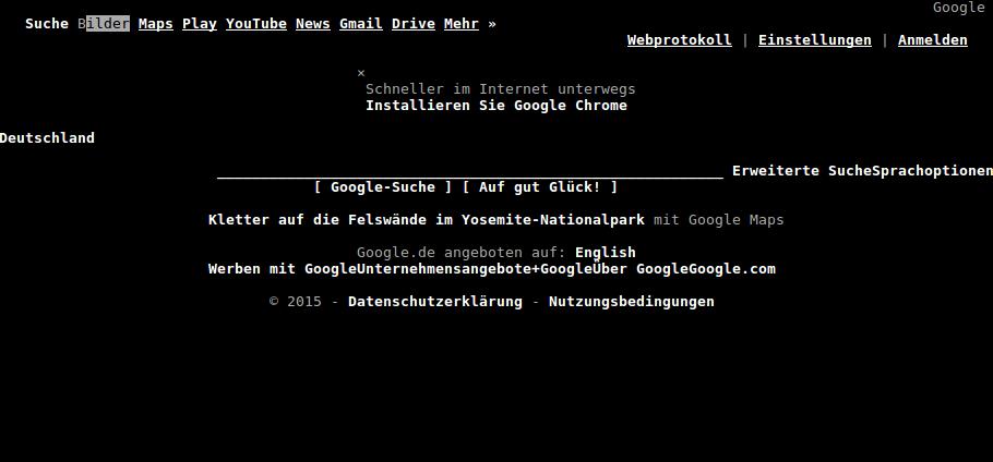 google.de in elinks
