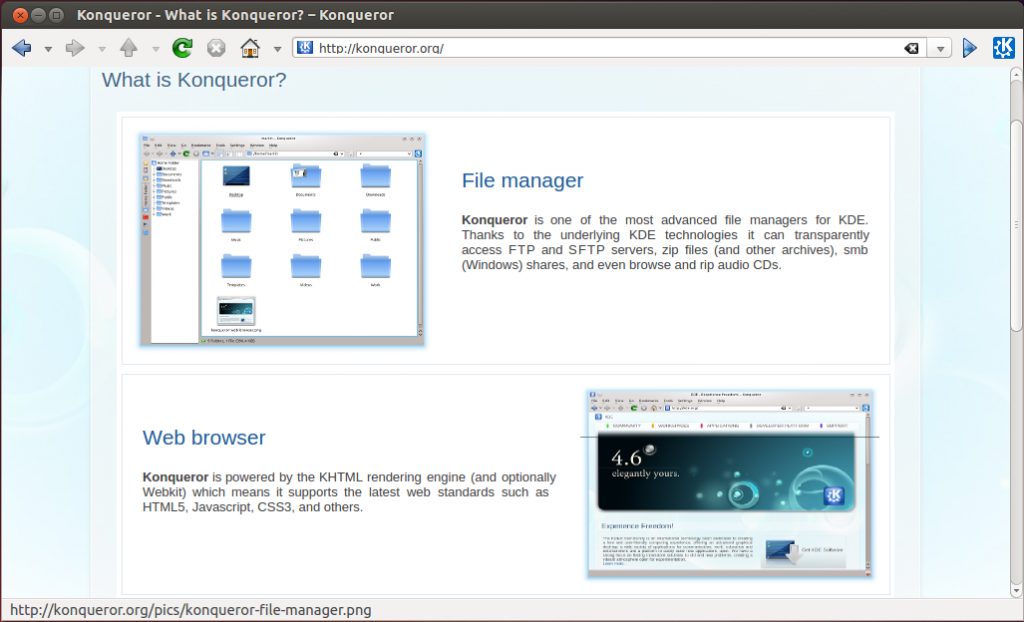 konqueror browser screenshot