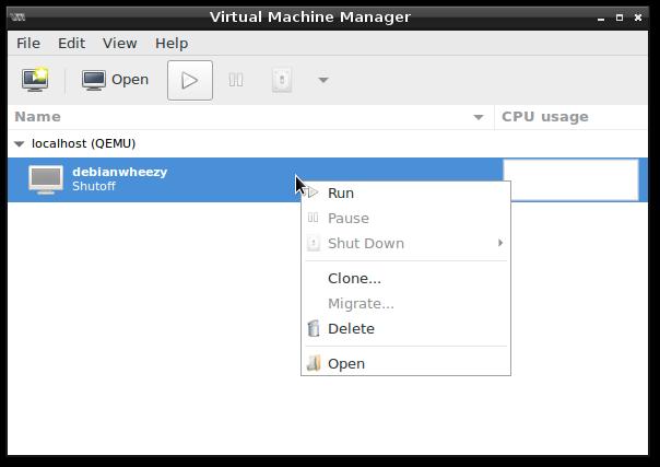 virt-manager gui screenshot - no snapshots