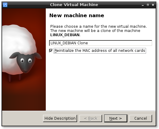 virtualbox clone machine1