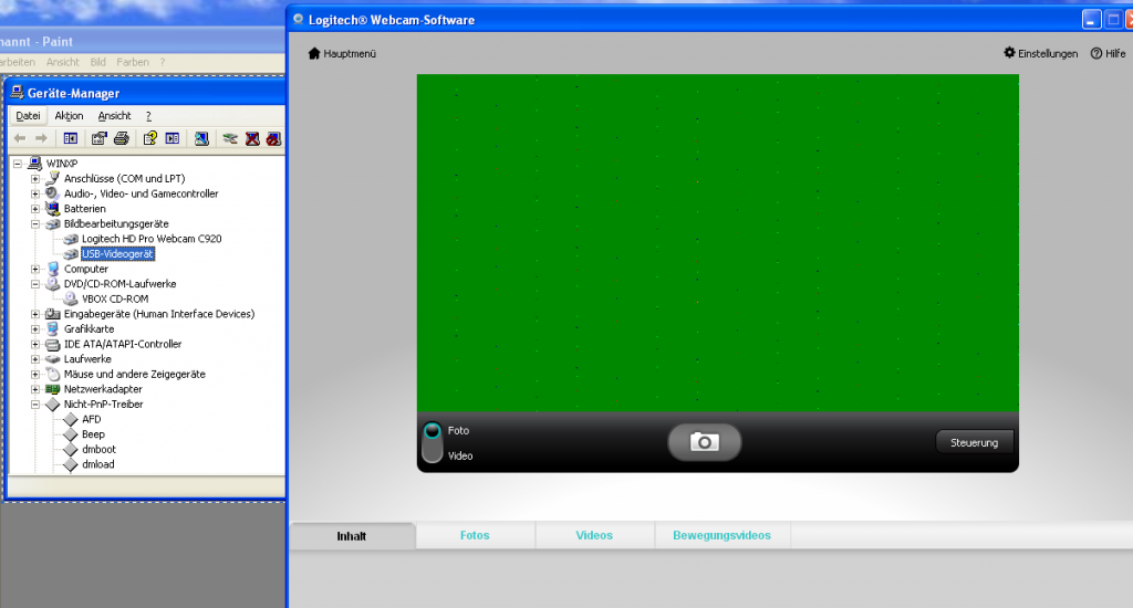 logitech webcam 920C Virtualbox win xp 3d 2d acc activated