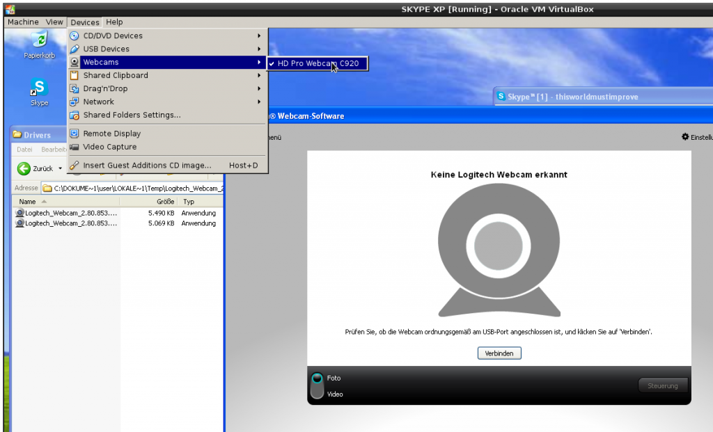 virtualbox new feature - usb webcam pass through