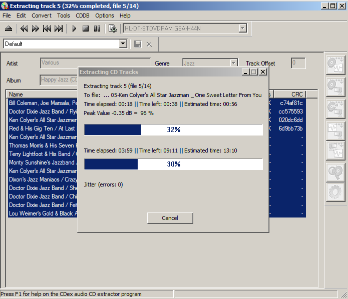 Excellent Music-CD to mp3 Ripping Tool: CDex | dwaves de