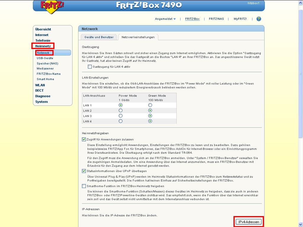 Fritzbox 7490 IP Adresse ändern2