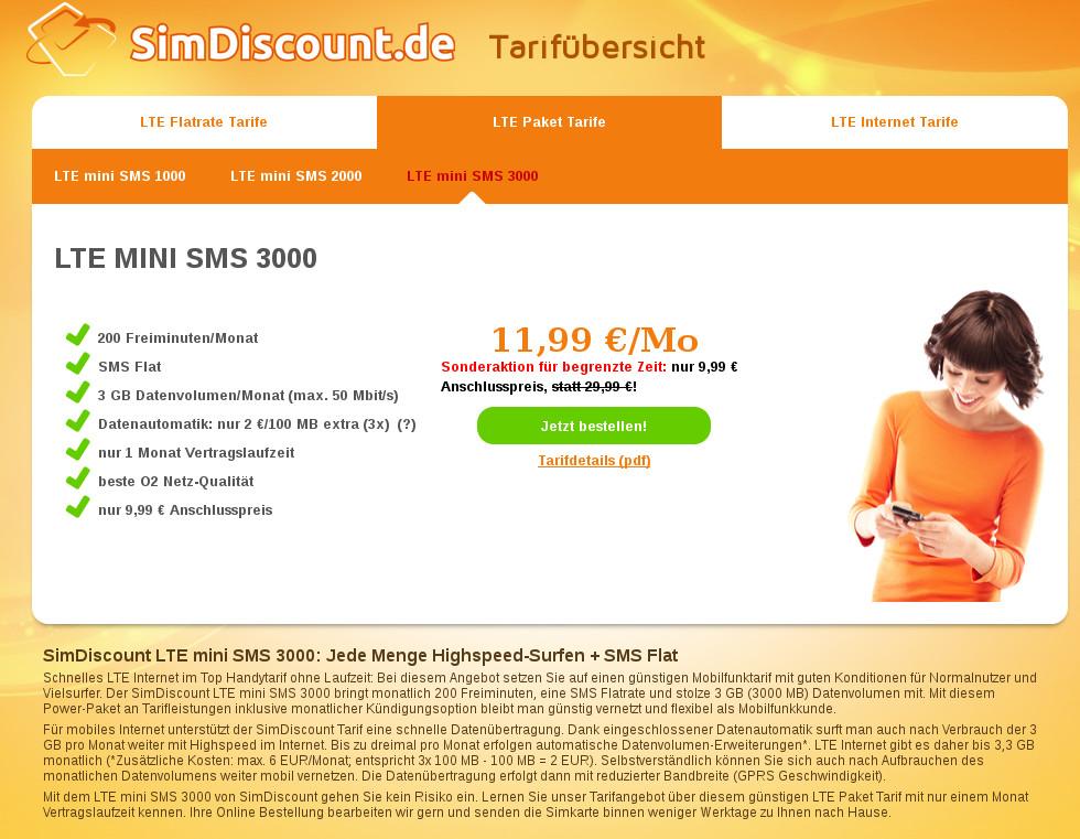 SimDiscount - Tarif LTE mini SMS 3000
