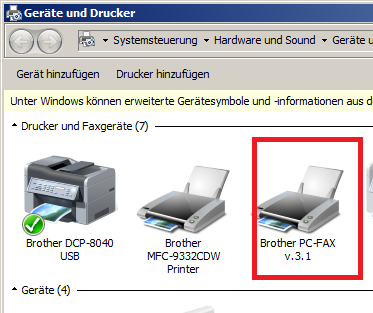 brother center 4 fax als drucker