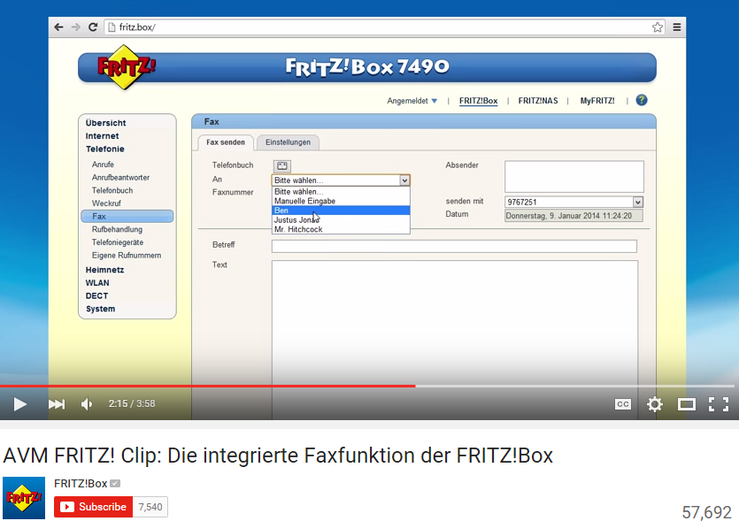 fritzbox 7490 fax versand - lächerlich