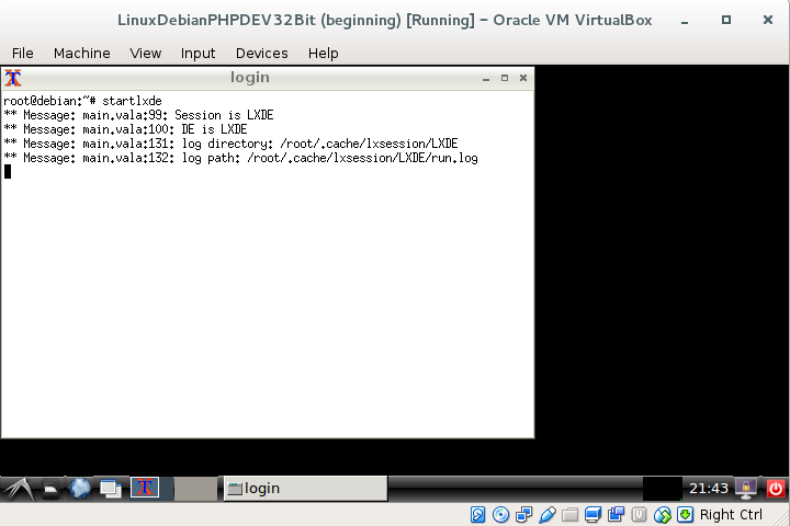 lxde inside virtualbox