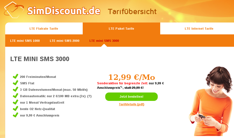 simdiscount.de tarif LTE mini SMS 3000 16.2.2016