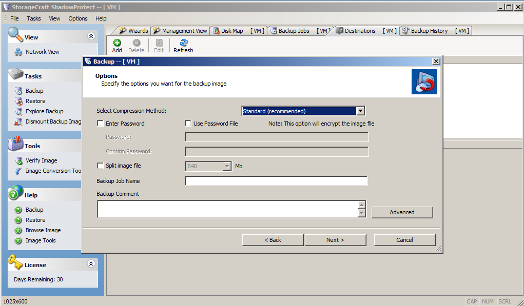 ShadowProtect Backup Software - Screenshot New Task