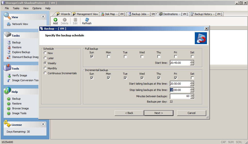 ShadowProtect Backup Software - Screenshot New Task1