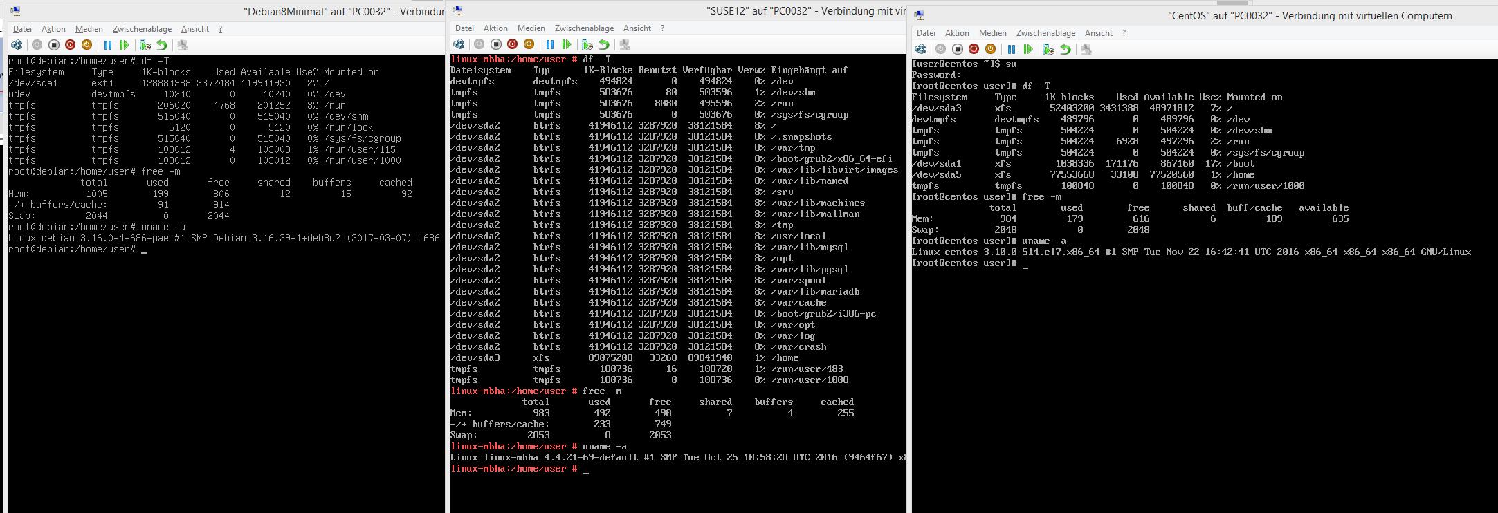 Debian8.7 vs CentOS7 vs. SUSE12 – kernel version – filesystem – directory structure – RAM memory usage