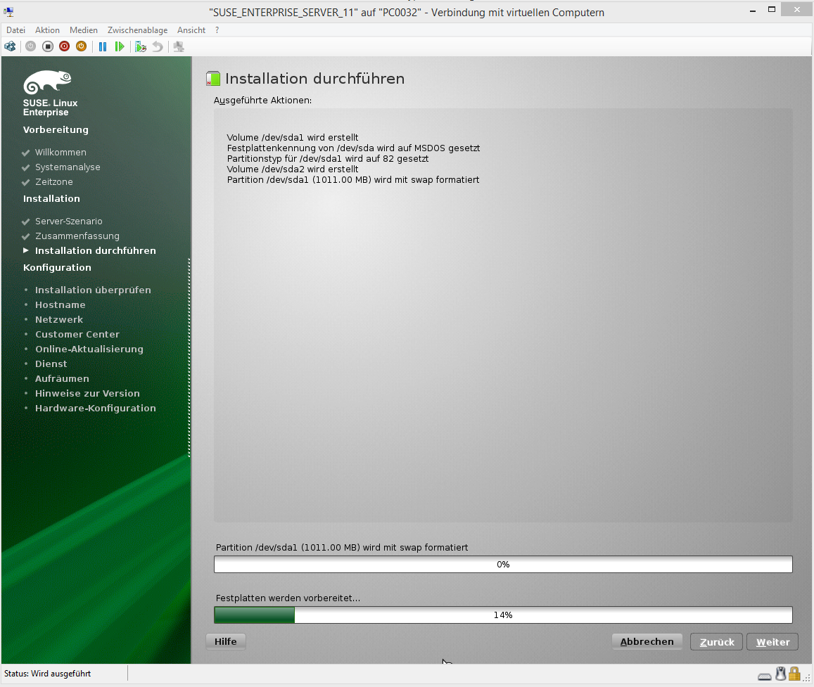 SUSE Enterprise Server 11 Virtual Guest setup fails error on Hyper-V 6 Windows 8 Host