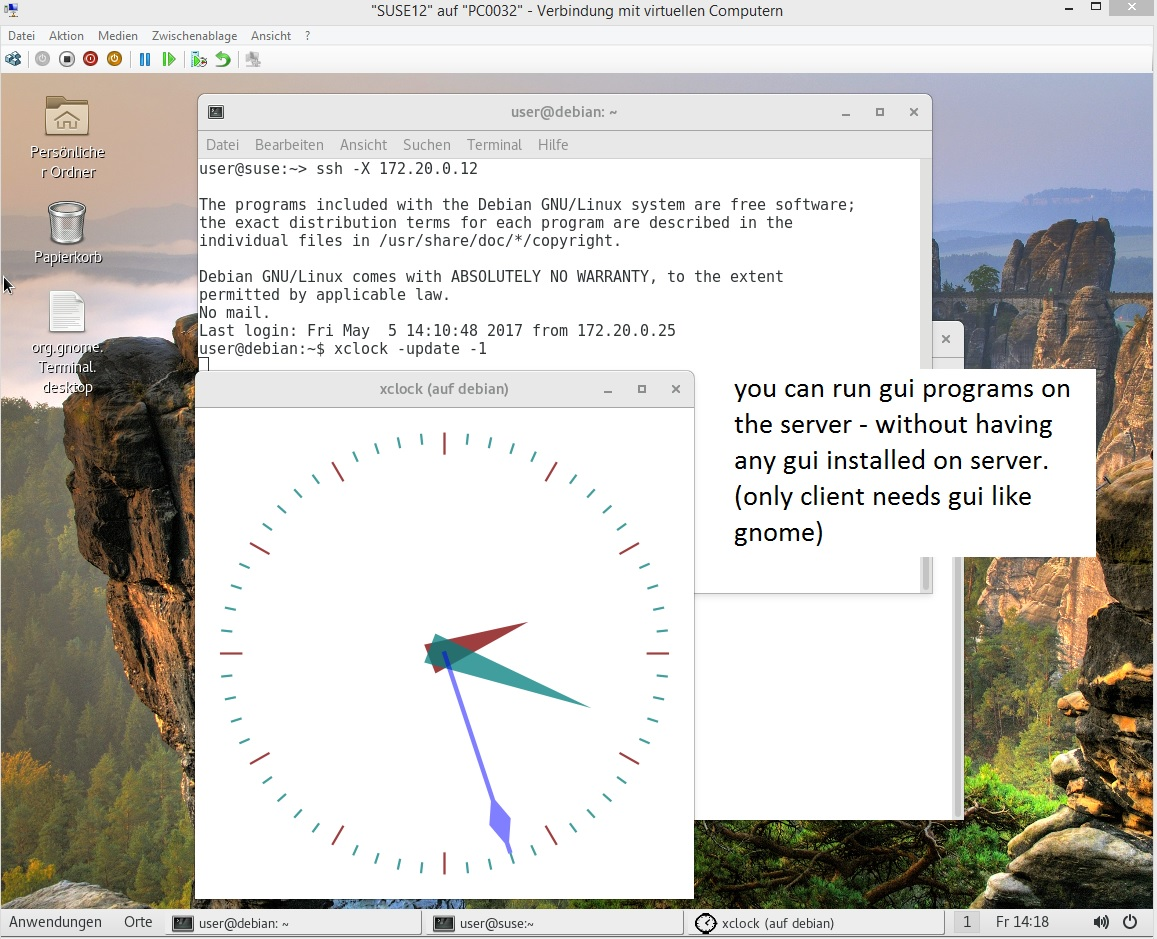 remote desktop linux – ssh encrypted tunnelling of grafical