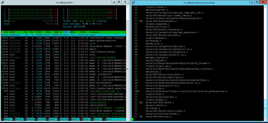 compiling kernel 4.12.13 under centos7 with 8x xeon E5504 at 2.00GHz cores on supermicro X8DT3 server