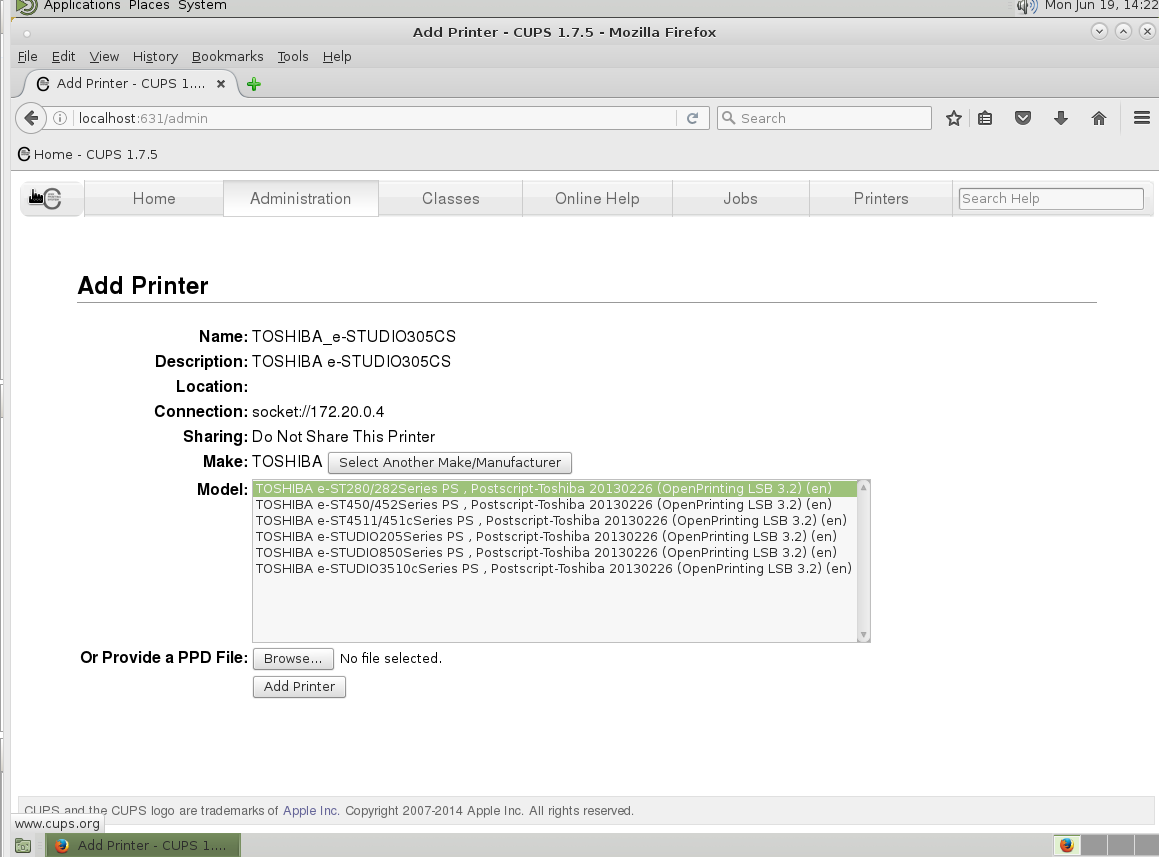 Linux -> Debian -> MATE Gnome2 install setup config Printer