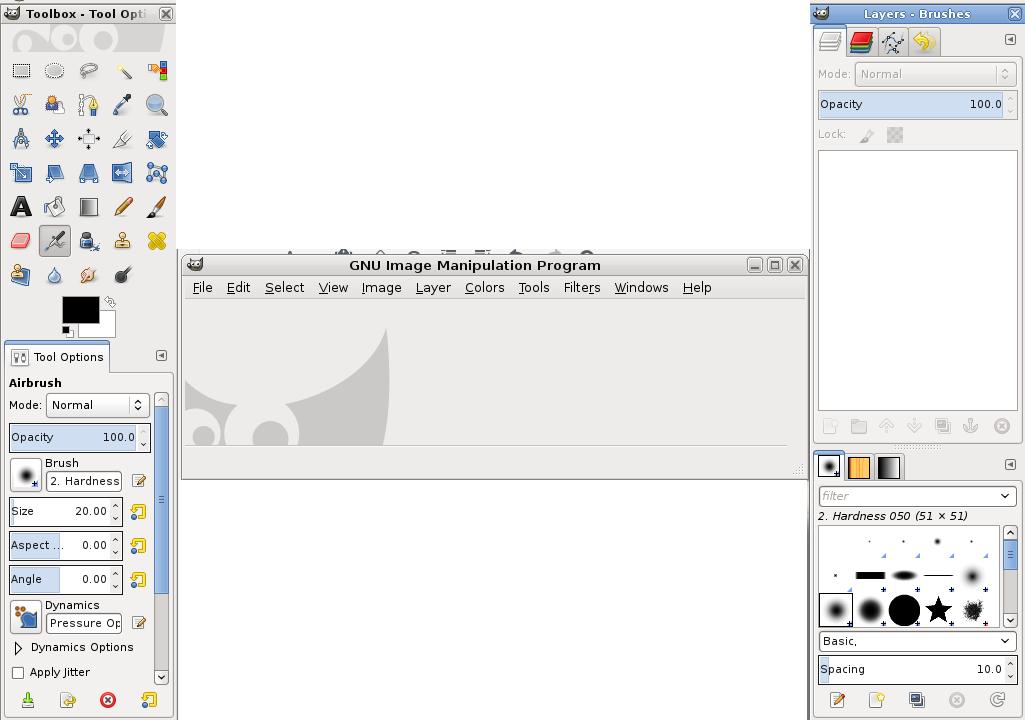 GIMP reset tool boxes windows