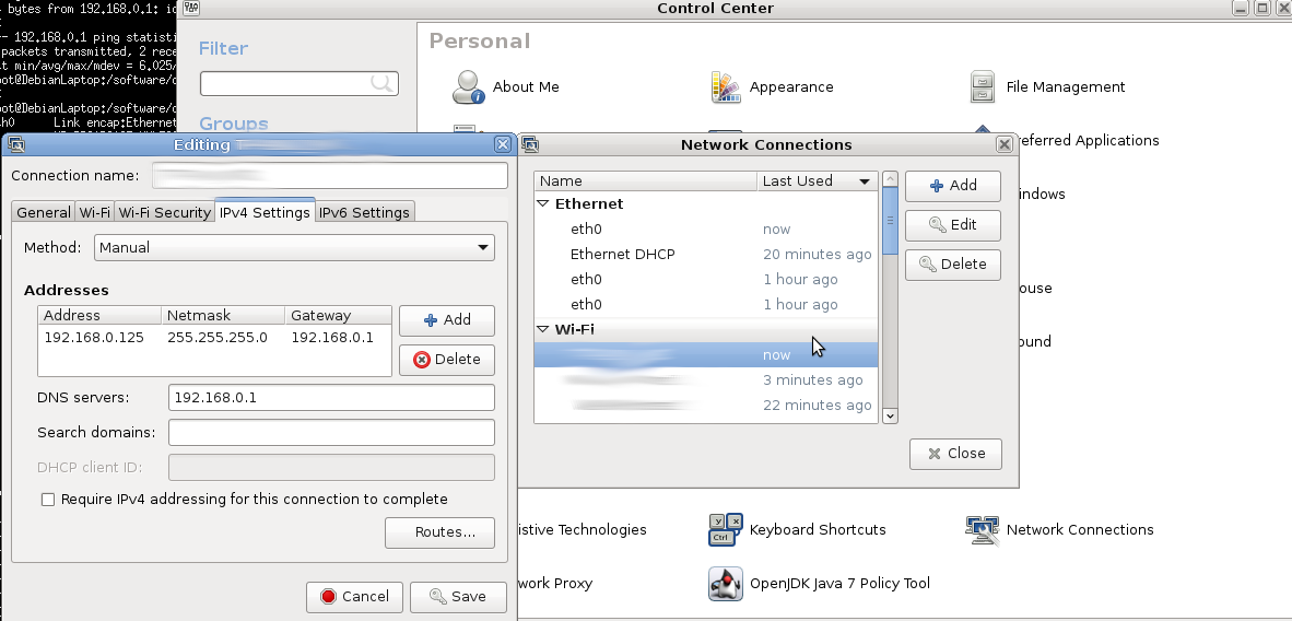 GNU Linux – network config madness – the (ever changing) basics – how to (try to) set fixed & dynamic ip & dns per interface