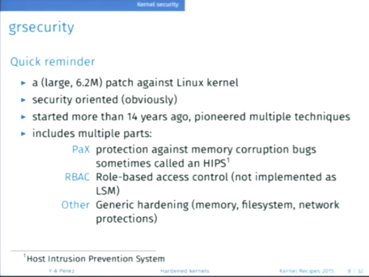 Linux Kernel Security 2016 – compared to cars – Kernel Recipes 2015 – Hardened kernels for everyone – By Yves-Alexis Perez