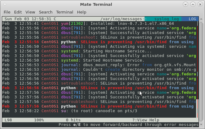 lnav – like less but more colorful output of log files
