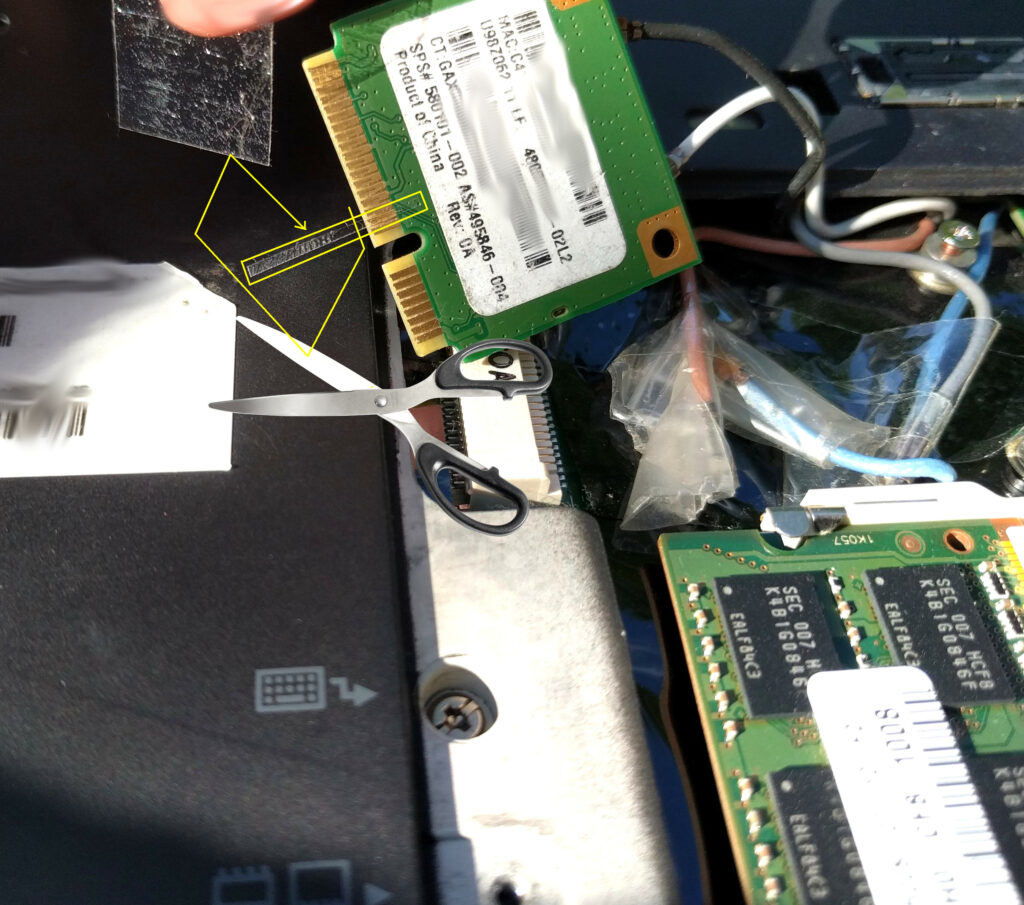 installing Atheros AR9382 into t400s WAN port with PIN 20 taped