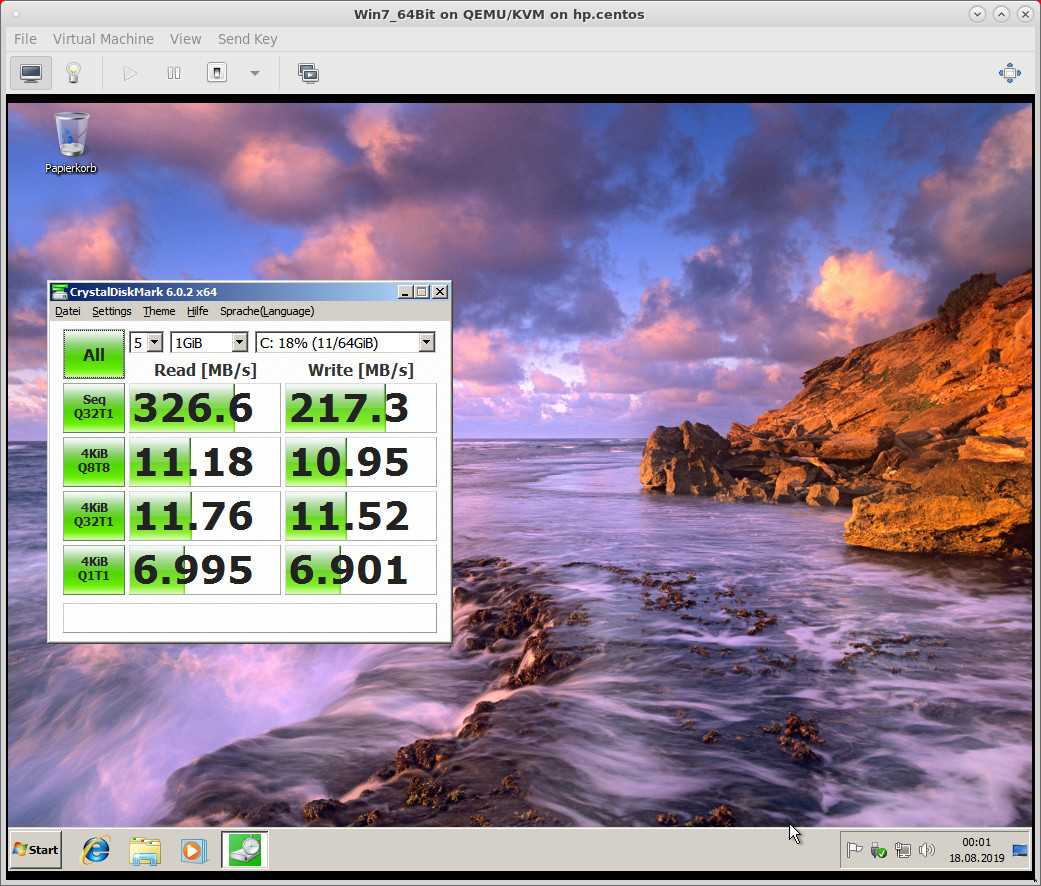 Host HP Prolian DL360 4x SAS RAID10 - CentOS 7 XFS encrypted harddisk - Win 7 64Bit Guest - CrystalDiskMark 6 Harddisk Benchmark, not bad, but also not super fast (all second hand ultra cheap hardware, no SSDs were used)