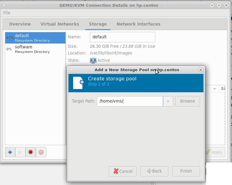 kvm virt-manager create new harddisk storage pool