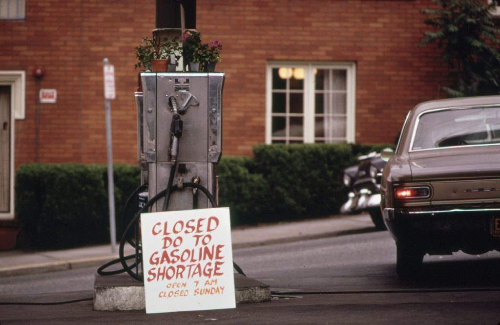 """""""October of 1973, the Arab members of OPEC placed an embargo on the U.S. in response to its support of Israel and the Yom Kippur War. The result was an oil shortage across the country, and a crash course for Americans on the limits of their government's power."""" https://www.marketplace.org/2016/05/31/how-oil-shortage-1970s-shaped-todays-economic-policy/"""