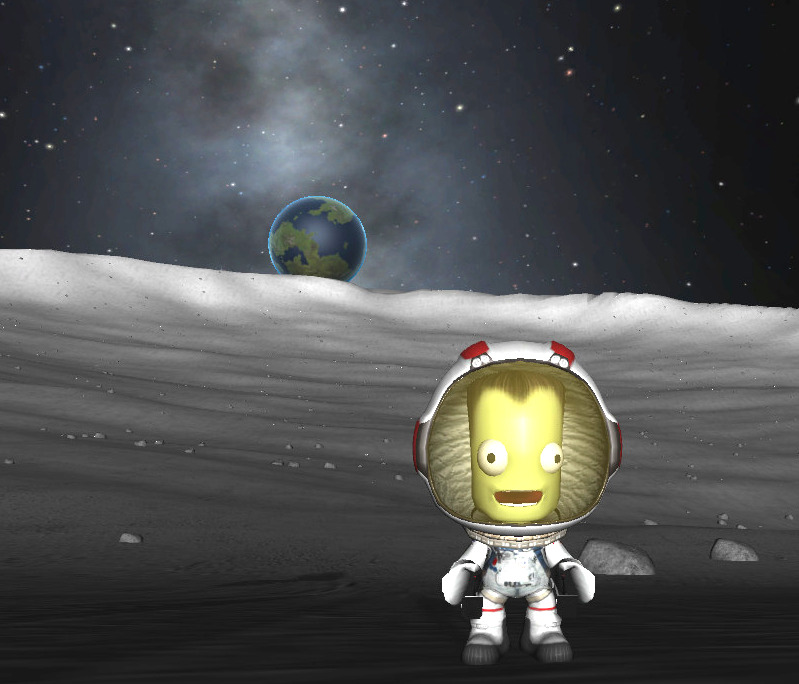 Earth is MAGNIFICENT! What one did not know: because the MÜN has NO ROTATION ... there is 24-7 EARTH-SET (Earth stays at it's position over the horizon)