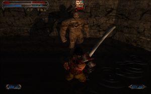 a large stone man