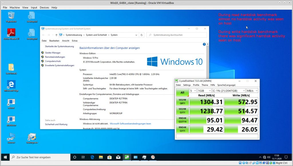 CrystalDisk Harddisk Benchmark - Win 10 64 Bit as VirtualBox guest on Debian 10 64Bit host (samsung ssd) - i-o host caching active