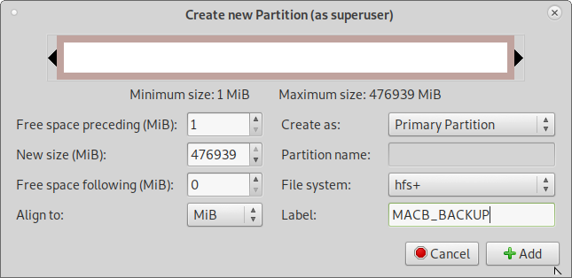 GNU Linux – howto create mac partition hfs+ with gparted greyed out option