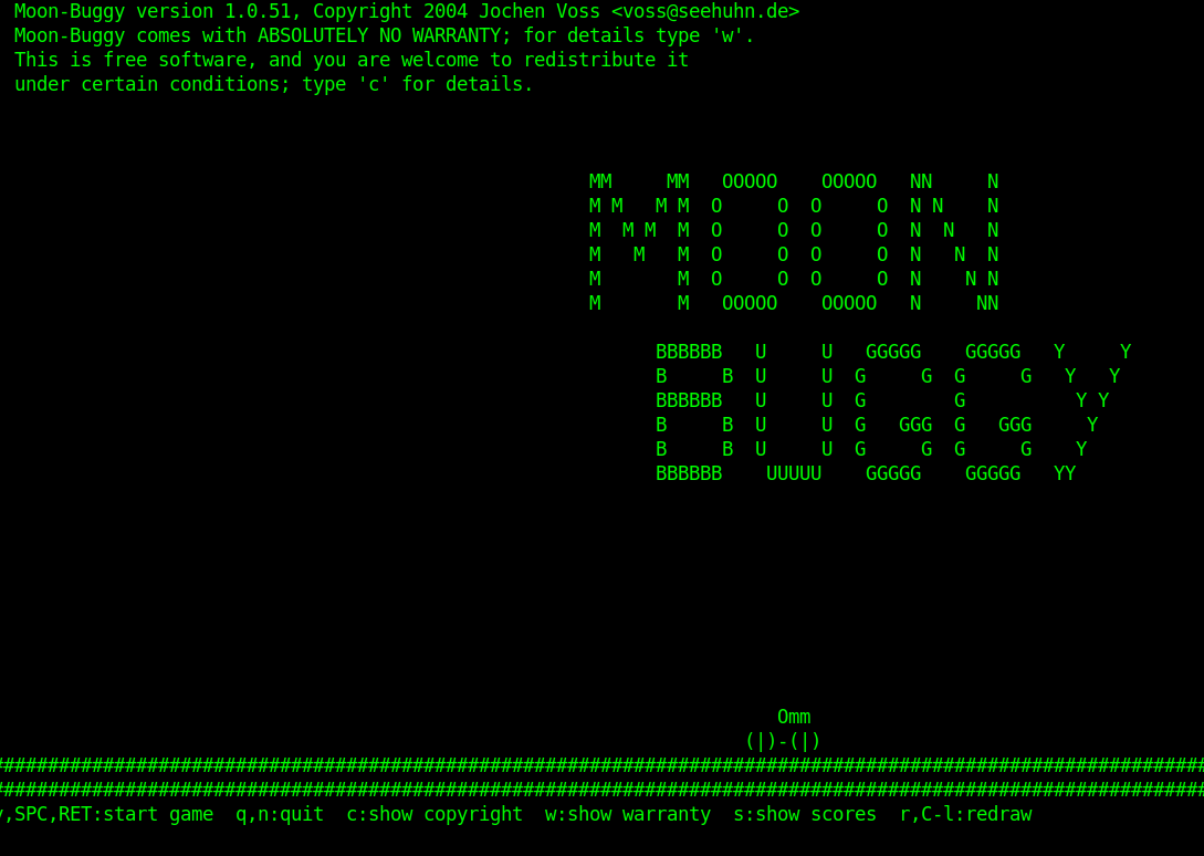 GNU Linux Bash Terminal retro games: very very retro game Moon Buggy (a MoonPatrol clone)