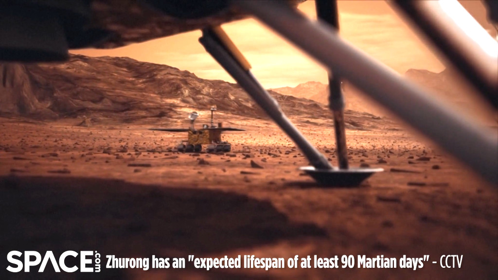 Chinese Space Agency (CNSA) publishes Zhurong Mars rover pictures of its Mars mission – one very large 360 picture – how did it do the selfie – rover designed to last only 90 Marsian days