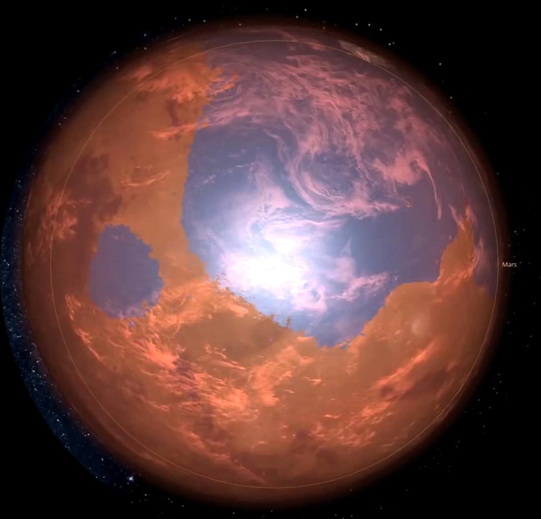Mars 3.8 Billion years ago