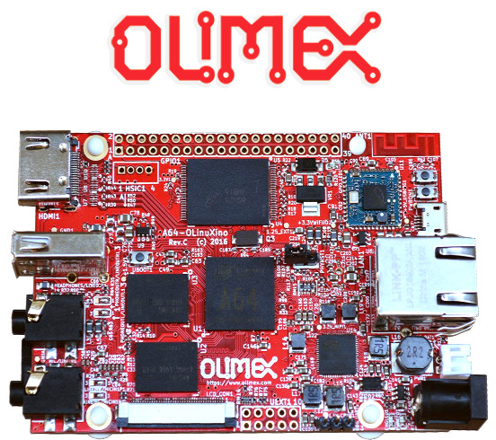 OLIMEX Allwinner A64 (ARM Cortex) CPU based Open Source (free) hardware SBC (single board computer) can run GNU Linux and Android