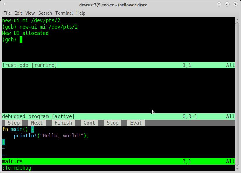 How to step debug debugging rust in vim 8.1
