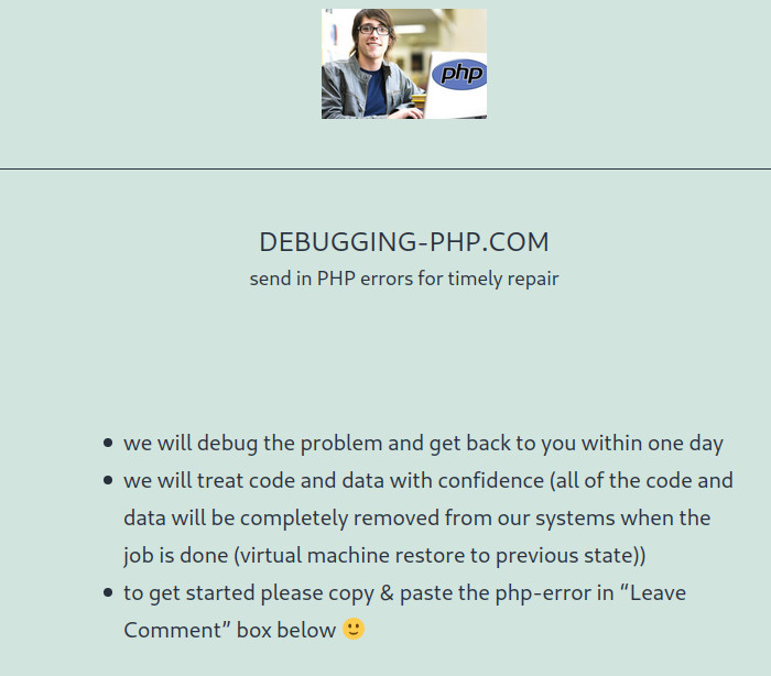 got errors php? send 'em in here – helping users fix their PHP errors and problems (wordpress, joomla, other cms) Debugging-PHP.com